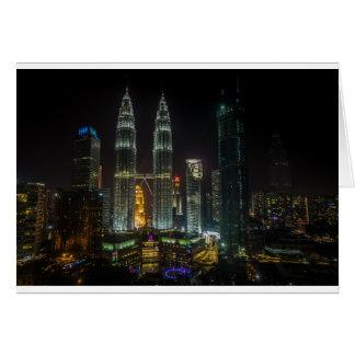 Kuala Lumpar Skyline At Night Card