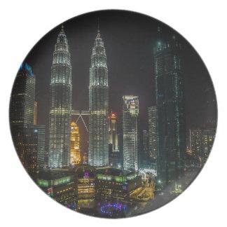Kuala Lumpar Skyline At Night Plate