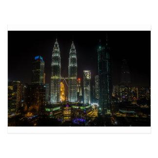 Kuala Lumpar Skyline At Night Postcard