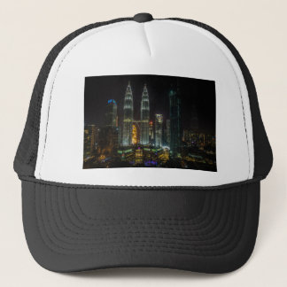 Kuala Lumpar Skyline At Night Trucker Hat
