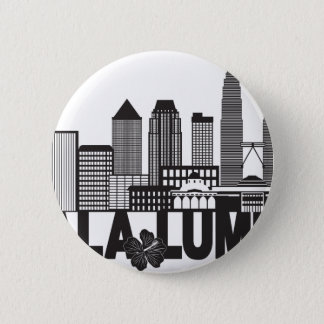 Kuala Lumpur City Skyline Text Black and White Ill 2 Inch Round Button