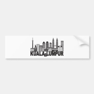 Kuala Lumpur City Skyline Text Black and White Ill Bumper Sticker