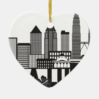 Kuala Lumpur City Skyline Text Black and White Ill Ceramic Ornament
