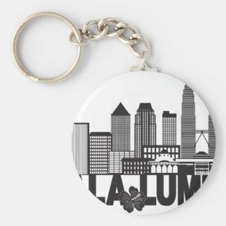 Kuala Lumpur City Skyline Text Black and White Ill Keychain