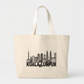 Kuala Lumpur City Skyline Text Black and White Ill Large Tote Bag