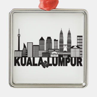 Kuala Lumpur City Skyline Text Black and White Ill Metal Ornament