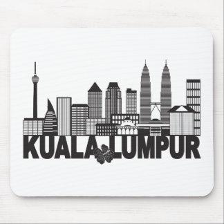 Kuala Lumpur City Skyline Text Black and White Ill Mouse Pad