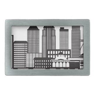 Kuala Lumpur City Skyline Text Black and White Ill Rectangular Belt Buckles