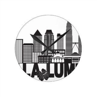 Kuala Lumpur City Skyline Text Black and White Ill Round Clock