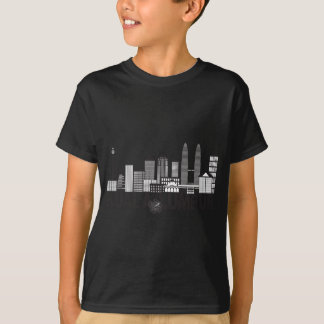 Kuala Lumpur City Skyline Text Black and White Ill T-Shirt