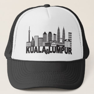 Kuala Lumpur City Skyline Text Black and White Ill Trucker Hat