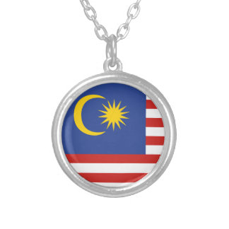 kuala lumpur flag silver plated necklace