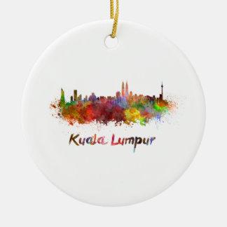 Kuala Lumpur skyline in watercolor Ceramic Ornament