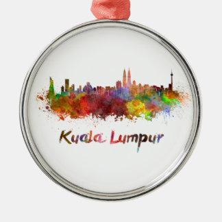 Kuala Lumpur skyline in watercolor splatters Metal Ornament