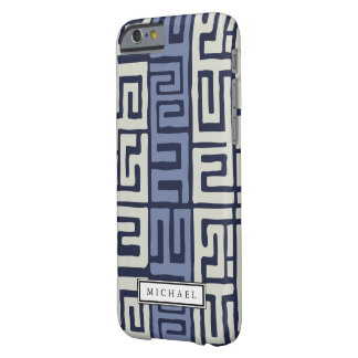 Kuba Cloth Inspired Cool Earth Colors Custom Name Barely There iPhone 6 Case