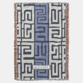 Kuba Cloth Inspired Cool Earth Colors Customized Throw Blanket