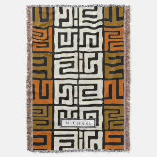 Kuba Cloth Inspired Warm Earth Colors Customized Throw Blanket