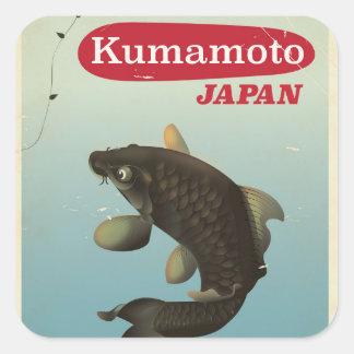 Kumamoto Japan vintage style travel poster Square Sticker