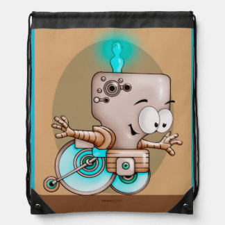 KUMO CUTE ROBOT CARTOON  Drawstring Backpack