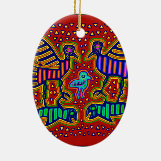 Kuna Indian Birds with Fish Ceramic Oval Ornament