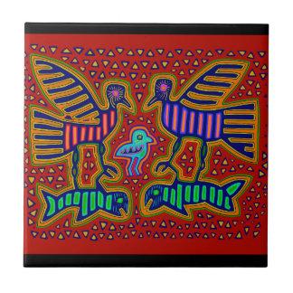 Kuna Indian Birds with Fish Ceramic Tiles