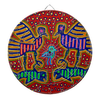 Kuna Indian Birds with Fish Dartboard