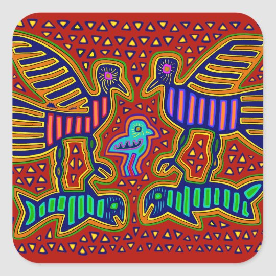 Kuna Indian Birds with Fish Square Sticker