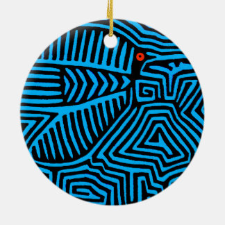 Kuna Indian Blue Bird Round Ceramic Ornament
