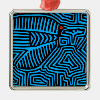 Kuna Indian Blue Bird Silver-Colored Square Ornament