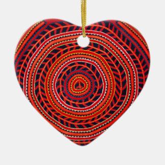 Kuna Tribal Universal Sun Ceramic Heart Ornament