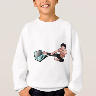 Kung Fu/Karate martial arts vs computer laptop Sweatshirt