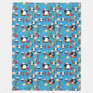 Kung Fu Pandas Blue Pattern Fleece Blanket