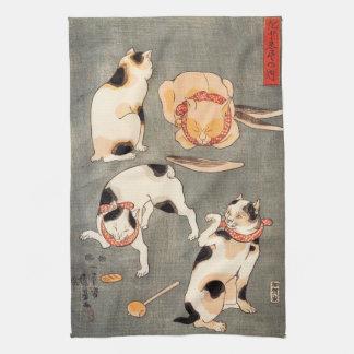 Kuniyoshi Four Cats Kitchen Towels