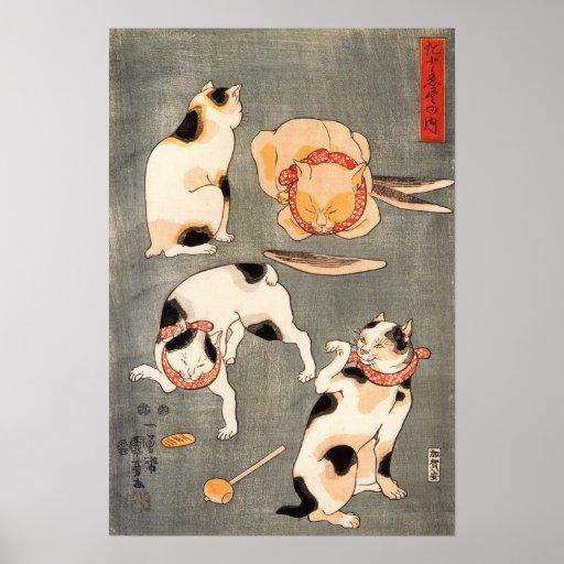 Kuniyoshi Four Cats Poster
