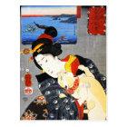 Kuniyoshi Woman with a Cat Postcard