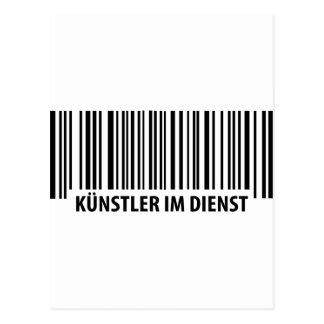 Künstler im Dienst Barcode icon Postcard
