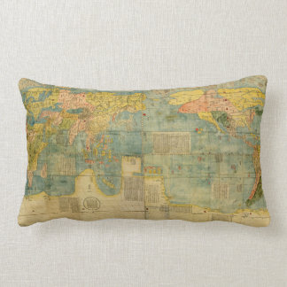 Kunyu Wanguo Quantu 1602 Japanese World Map Lumbar Pillow