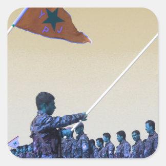 Kurdish YPG - YPJ Figters of Rojava Kurdistan 3.jp Square Sticker