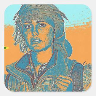 Kurdish YPJ Fighter 6 Square Sticker