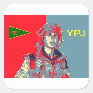 Kurdish YPJ Fighter art 2 Square Sticker