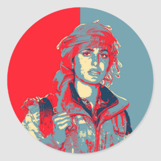Kurdish YPJ Fighter art Classic Round Sticker