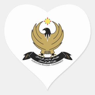 Kurdistan Coat of Arms Heart Sticker