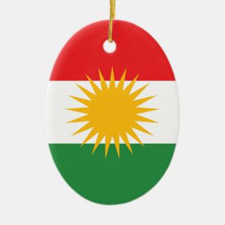 Kurdistan Flag Ceramic Oval Ornament