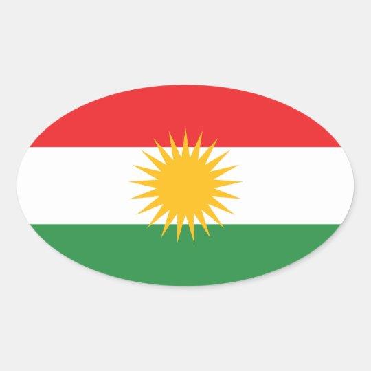 Kurdistan Flag Oval Sticker