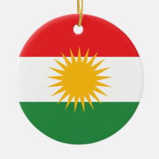 Kurdistan Flag Round Ceramic Ornament