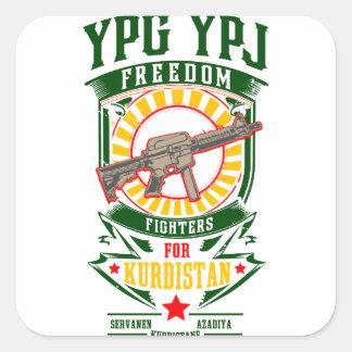 KURDISTAN - YPG - YPJ Freedom Warrior Square Sticker