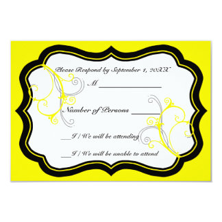 Kurli-Q Ivory B (Yellow) RSVP Card