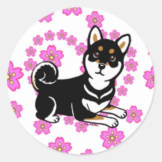 Kuro Shiba Inu dog cartoon Classic Round Sticker