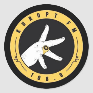 kurupt fm stickers.. 108.9. straight thru ya spine classic round sticker