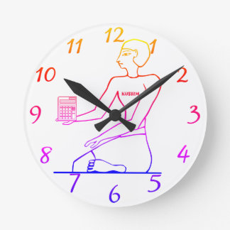 """Kushim the Accountant Holding a Calculator"" Round Clock"